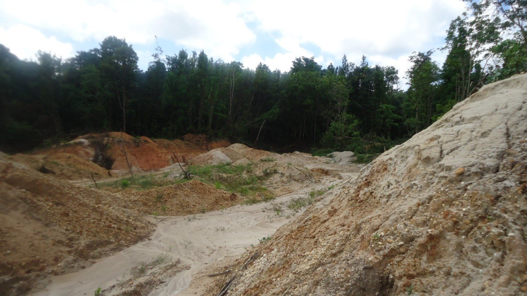 Photo: Illegal quarrying operation in North Trinidad. The Environment Management Authority (EMA) said it is moving to stop illegal quarrying operations along the Toco Old Road. Photo courtesy the EMA.