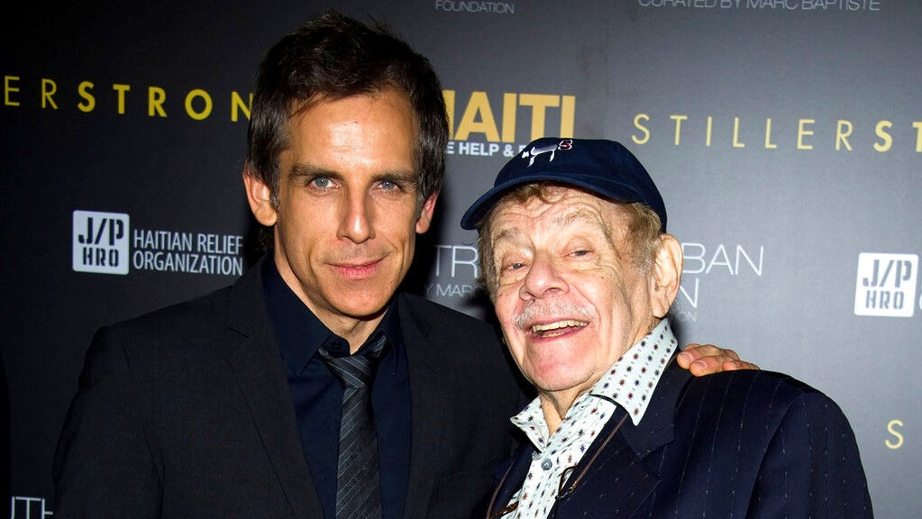 In this February 11, 2011, photo, Ben Stiller, left, and his father Jerry Stiller arrive at the Help Haiti benefit honoring Sean Penn hosted by the Stiller Foundation and The J/P Haitian Relief Organization, in New York. (AP Photo/Charles Sykes, File)