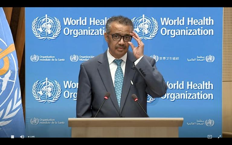 Le directeur général de l'OMS Tedros Adhanom Ghebreyesus en visioconférence, le 18 mai 2020 Genève, à l'ouverture virtuelle de l'Assemblée mondiale de la santé