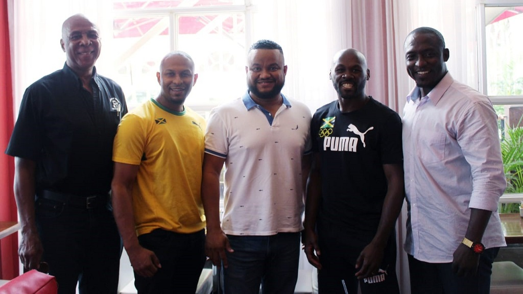 (From left): Tony Robinson, President, Jamaica Karate Federation (JKF); Nathaniel Peat, JKF Technical Director; Ryan Foster, CEO/Secretary- General, JOA; Alton Brown, Pan Am karate silver medallist and athlete Kenneth Edwards, who represented Jamaica in taekwondo at the Olympic Games.
