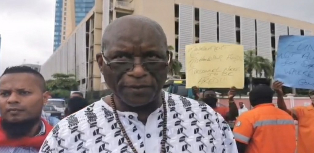 Head of the Seamen and Waterfront Workers Trade Union (SWWTU) Michael Annisette speaks at a protest at the Port of Port of Spain on June 23, 2020.