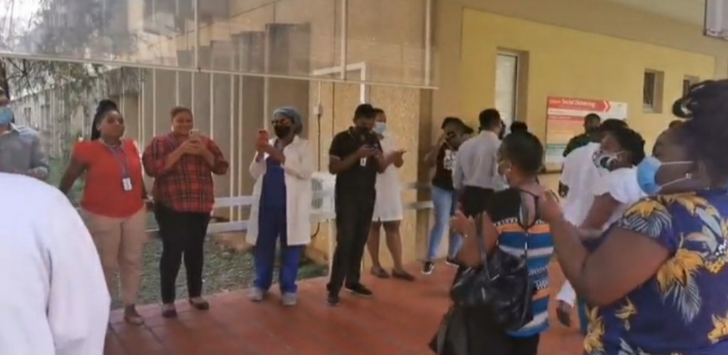 Healthcare workers protest: A screen grab of a video posted on the PSA Trinbago's Facebook page on June 12, 2020