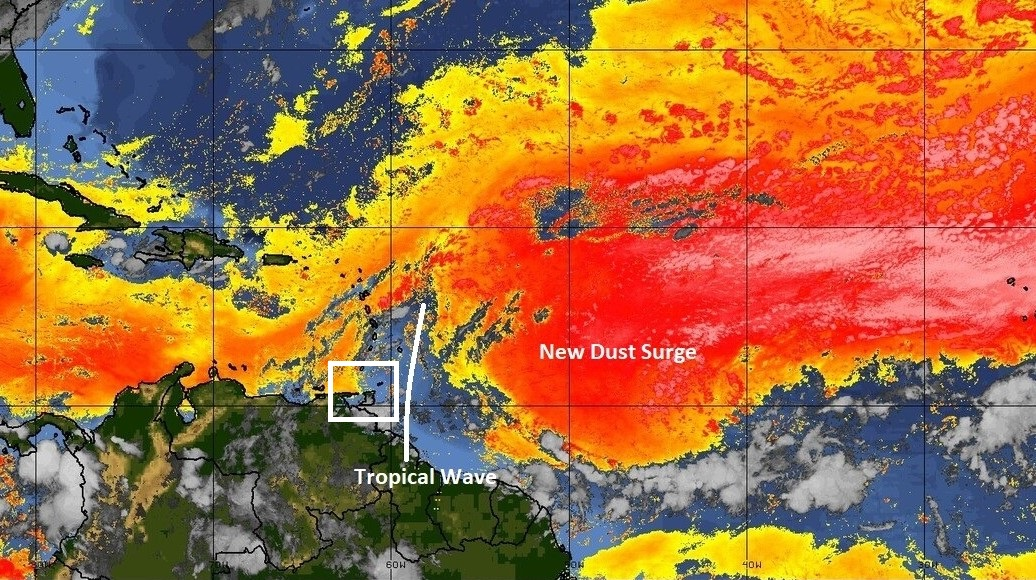 Trinidad and Tobago Meteorological Service depicts an image of a Saharan dust surge expected from June 25.