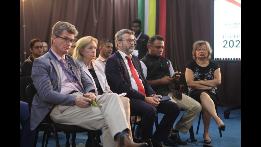 US Ambassador Sarah-Ann Lynch, UK High Commissioner Greg Quinn, EU Ambassador Fernando Ponz Canto, Indian High Commissioner to Guyana, Dr KJ Srinivasa, and Canadian High Commissioner Lilian Chatterjee on March 3, 2020 at the GECOM Elections.