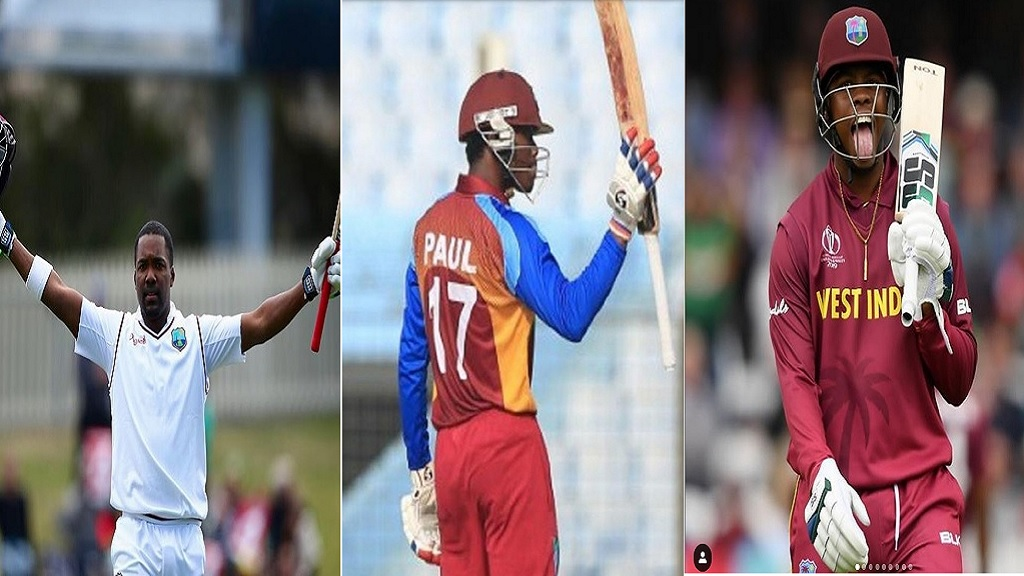 (From left) Darren Bravo,  Keemo Paul and Shimron Hetmyer.