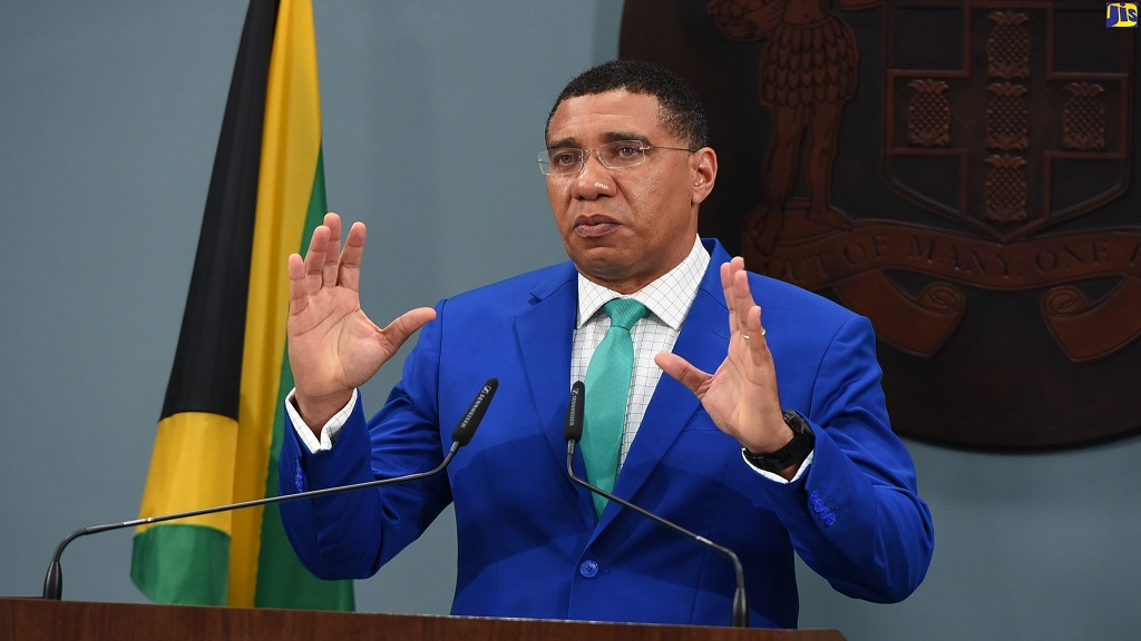 Prime Minister Andrew Holness  provides an update on Jamaica's response to the coronavirus pandemic via a digital conference on Sunday, May 31. Photo via Jamaica Information Service.