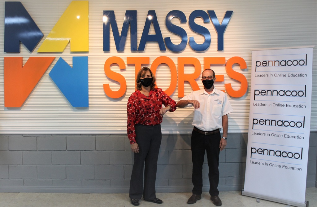CEO of Massy Stores Roxane De Freitas (left), Pennacool CEO John Devaux (right).