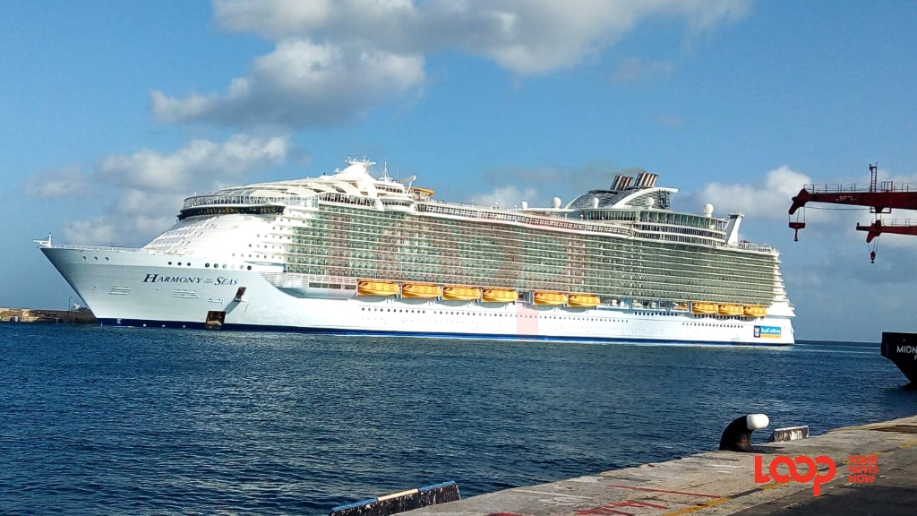 Harmony of the Seas docked in the Bridgetown Port, Barbados