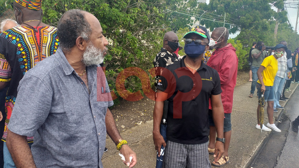 General Secretary, Caribbean Movement for Peace and Integration David Denny (Left) and Former Minister Stephen Lashley (right)