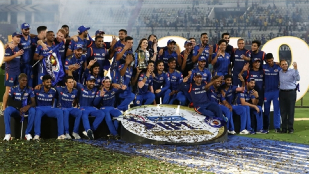 Mumbai Indians celebrate winning the 2019 Indian Premier League.