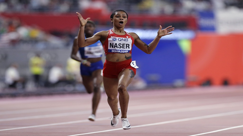 Salwa Eid Naser celebrates victory in the women's 400m at the 2019  IAAF World Championships in Doha.