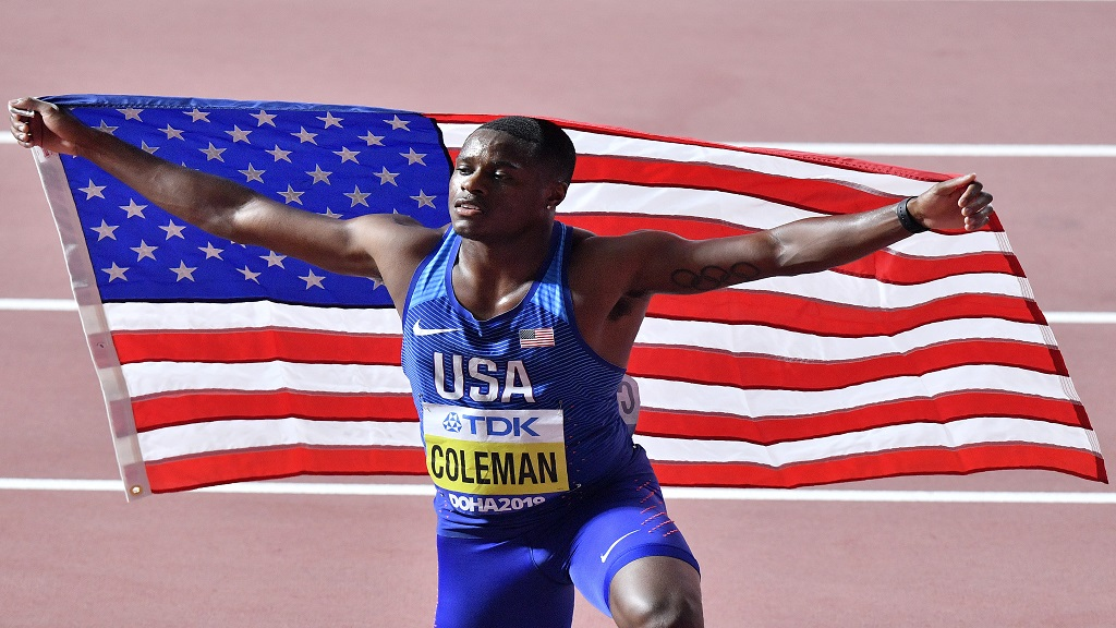 In this Sept. 28, 2019, file photo, Christian Coleman, of the United States, poses after winning the men's 100m race during the World Athletics Championships in Doha, Qatar. (AP Photo/Martin Meissner).