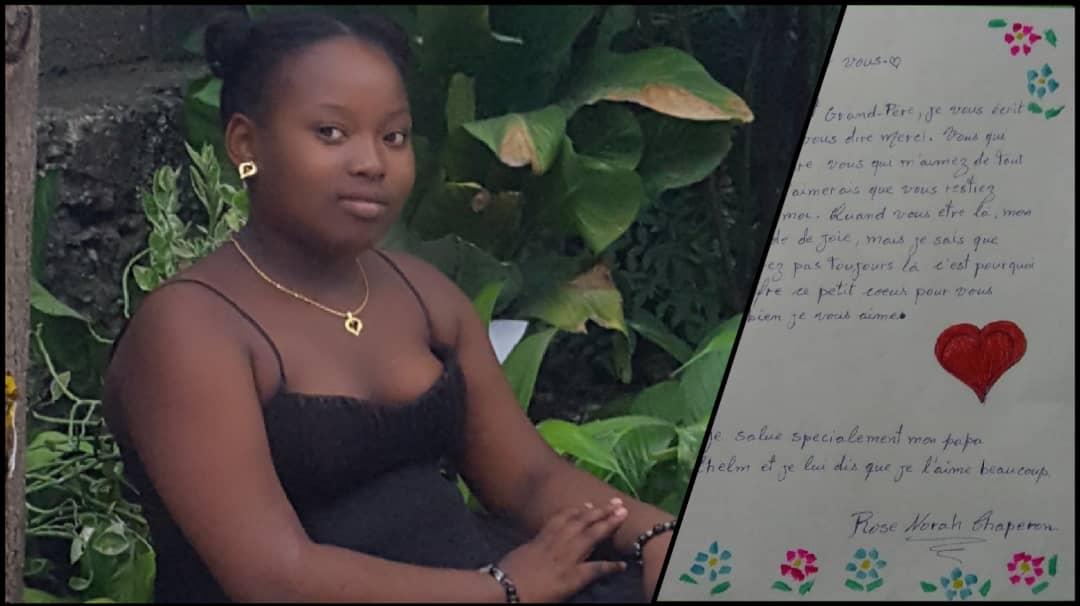 """Rose Norah Chaperon,12 ans. Lettre et photo: Courtoisie """"Timoun Eklere"""""""