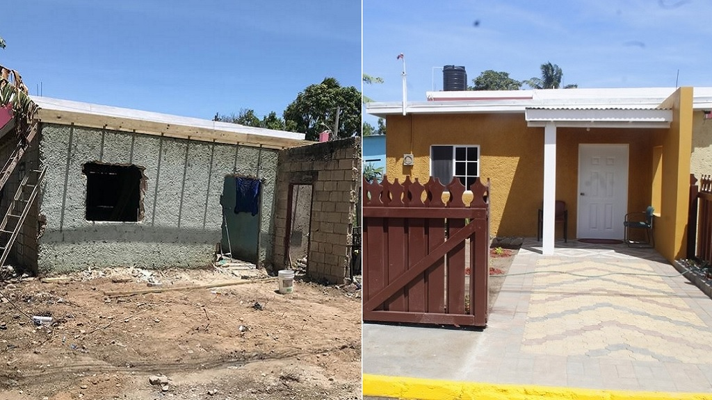 Combination of photos showing Hopie Greensword's home in Old Braeton, Portmore, before and after a refurbishing exercise by the Portmore City Council in partnership with Magnum Tonic Wine.