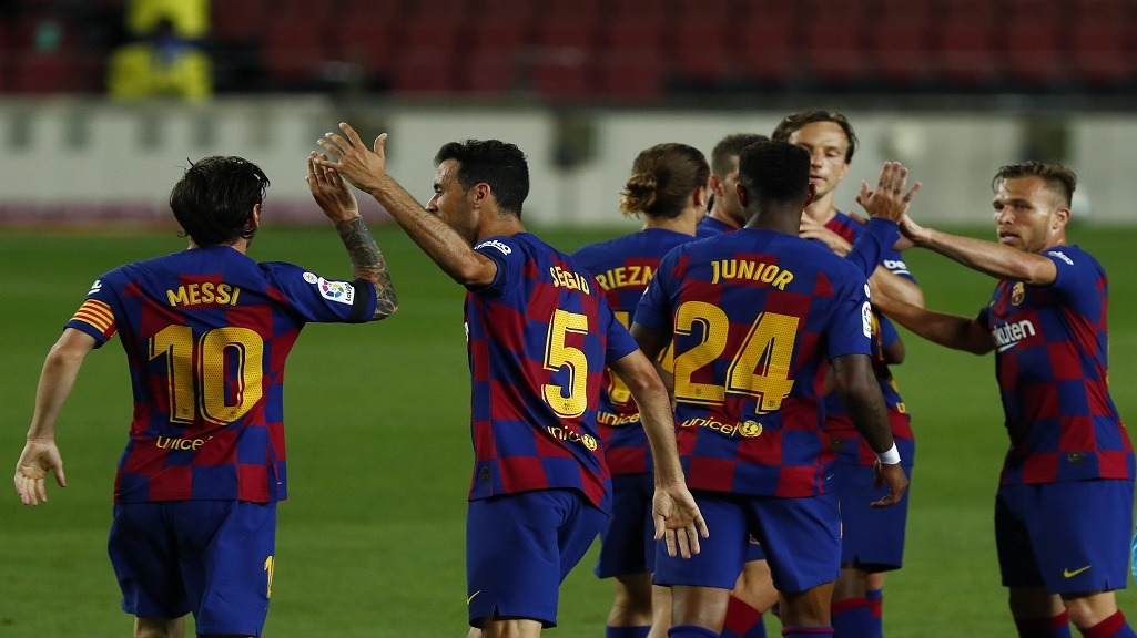 Barcelona's players celebrate Ansu Fati's goal during the Spanish La Liga football match against Leganes at the Camp Nou stadium in Barcelona, Spain, Tuesday, June 16, 2020. (AP Photo/Joan Montfort).