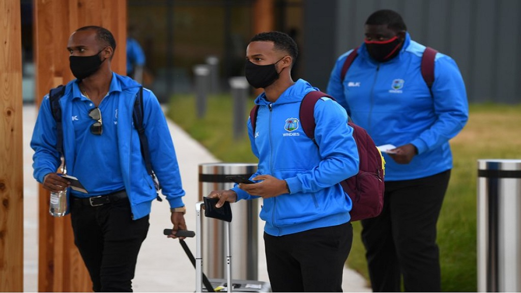 West Indies players arrived in England ahead of the planned behind-closed-doors Test series, which will start in Southampton on July 8.
