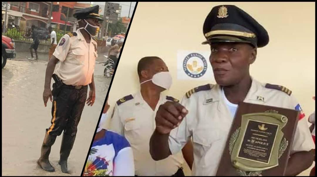 Sur la photo, l'inspecteur divisionnaire, Antoine Joachim. Collage : Loop Haïti.