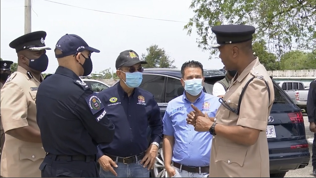 National Security Minister Dr Horace Chang, Minister without Portfolio in the Ministry of National Security Senator Matthew Samuda and Police Commissioner Antony Anderson recently toured the area four police division.