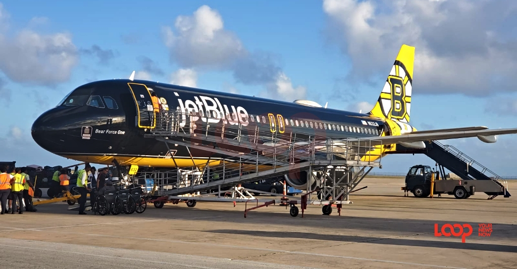 JetBlue aircraft at the Grantley Adams International Airport in Barbados on January 18, 2020 (FILE)