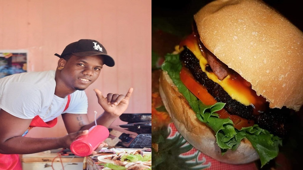 Lance Alphonse alongside one of his delicious burgers