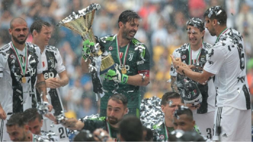 Juventus celebrate winning last season's Serie A.