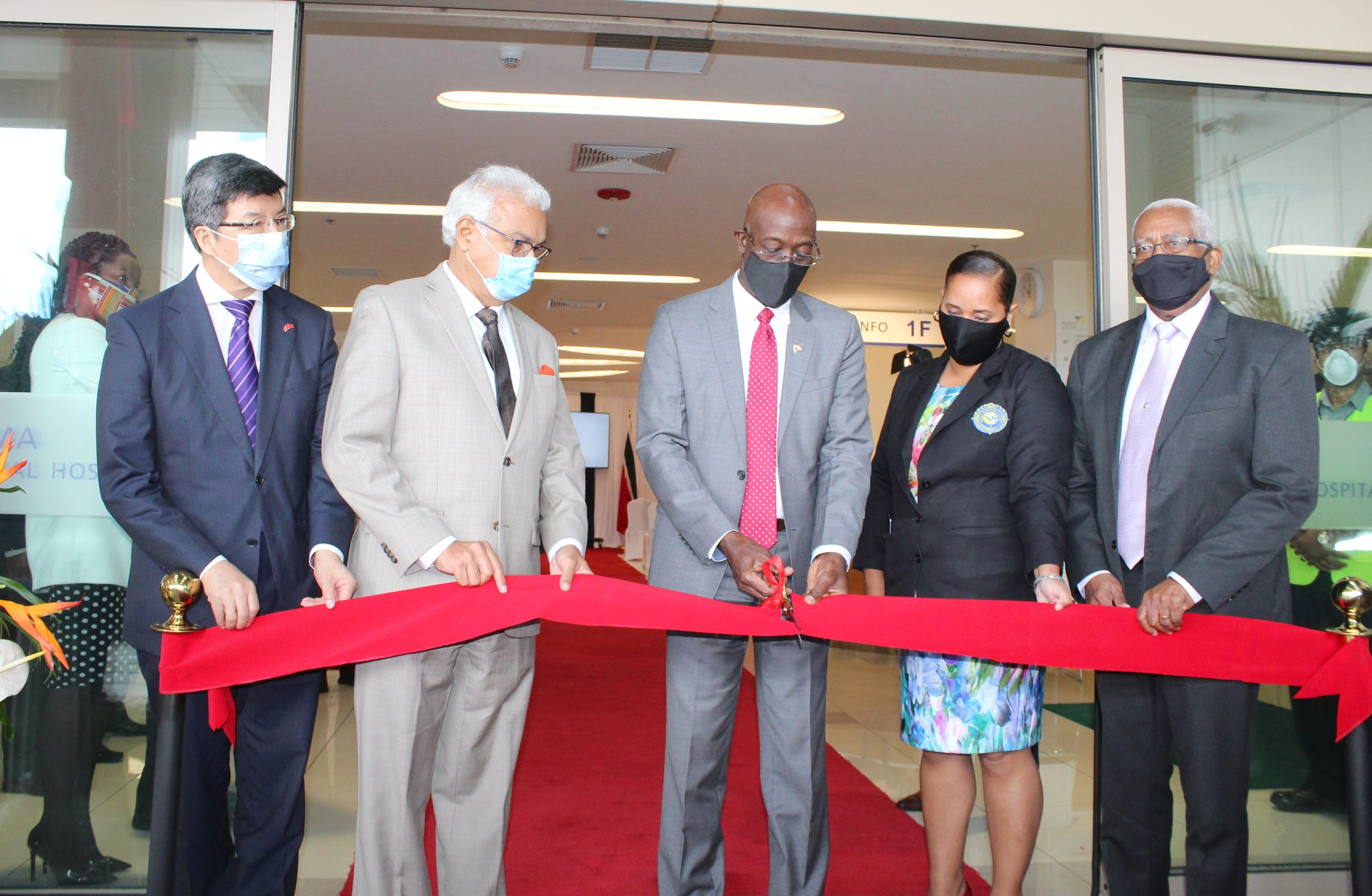 From left, His Excellency Song Yumin, Ambassador of the People's Republic of China to Trinidad and Tobago, Health Minister Terrence Deyalsingh, Prime Minister Dr Keith Rowley, Arima Mayor Lisa Morris-Julien and Arima MP Anthony Garcia. (via OPM)
