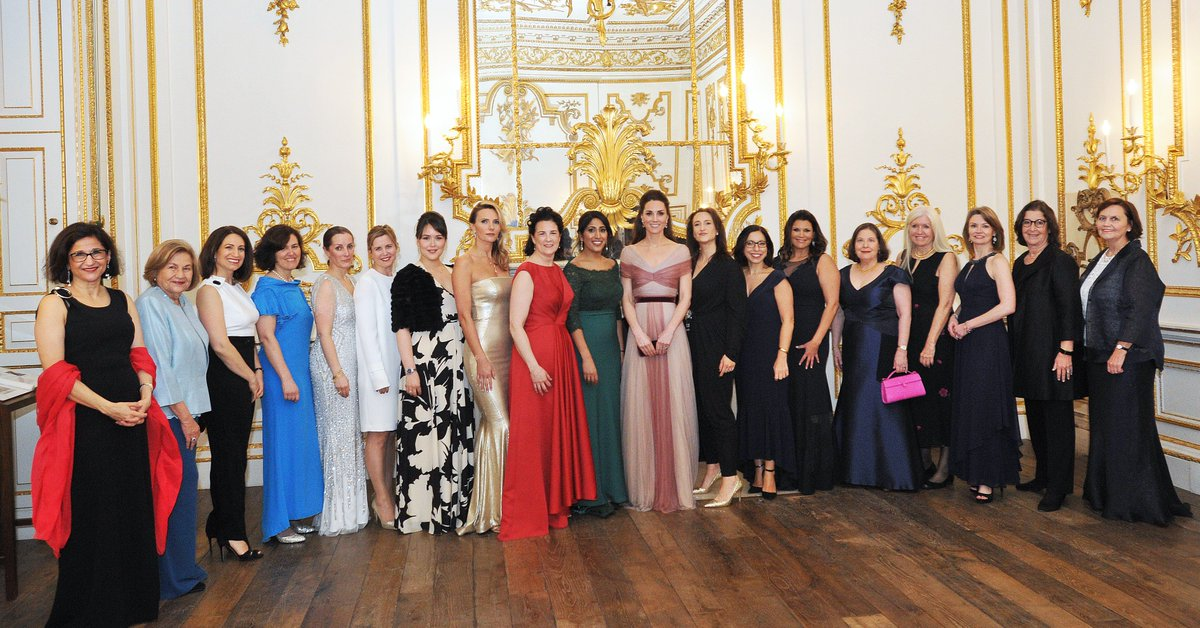In 2019, 100 Women in Finance hosted HRH The Duchess of Cambridge at their London Gala. HRH is pictured here with 100WF Board members and Industry Leadership honouree, Dame Minouche Shafik.