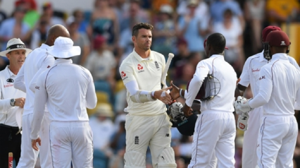 James Anderson (centre) playing against West Indies.