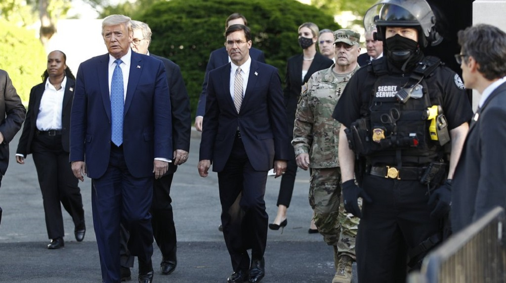 In this June 1, 2020, file photo President Donald Trump departs the White House to visit outside St. John's Church in Washington. (AP Photo/Patrick Semansky, File)