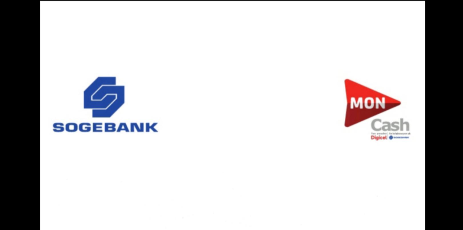 Les logos de la Sogebank et du service MonCash.