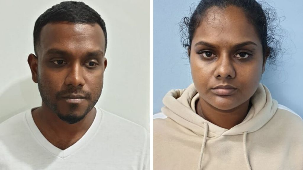 Photo L-R: Canadian national Kingson Yogonathan and Guyanese national Geeta Mohabir were charged due to appear in court on charges of making counterfeit cards and possessing card-making equipment. Photos courtesy the TTPS.