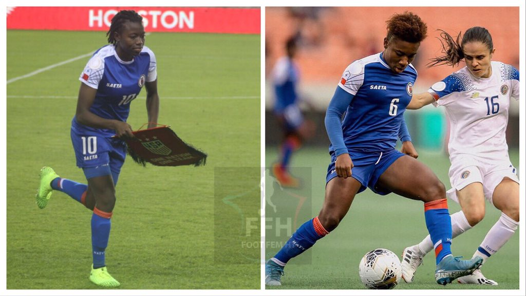 Photo collage : Nerilia Mondésir et Melchie Dumornay. /Foot au féminin