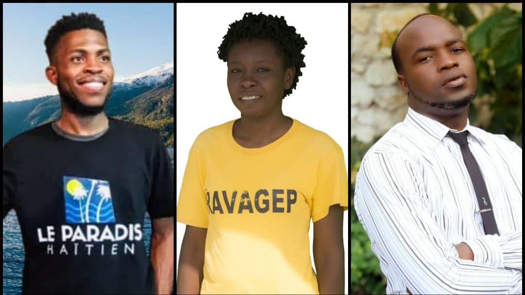De gauche à droite, Gladimy Jean, Stéphania Zema et Luckson Jean, les 3 gagnants de la 7e Edition de « Cité Soleil Peace Prize».  Photo Collage : Loop Haïti.
