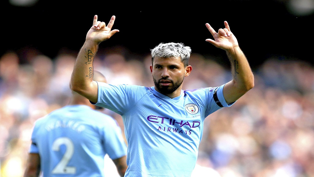 Manchester City's Sergio Aguero celebrates scoring his side's third goal of the game during the English Premier League football match at the Etihad Stadium, Manchester, England, Saturday Aug. 31, 2019. (Nick Potts/PA via AP).