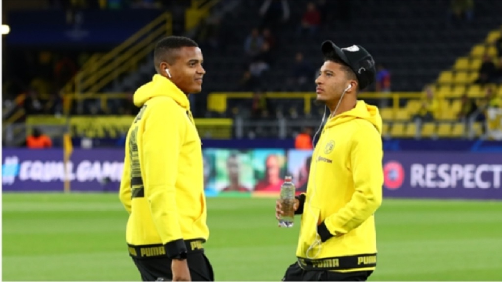 Borussia Dortmund players Manuel Akanji (left) and Jadon Sancho.