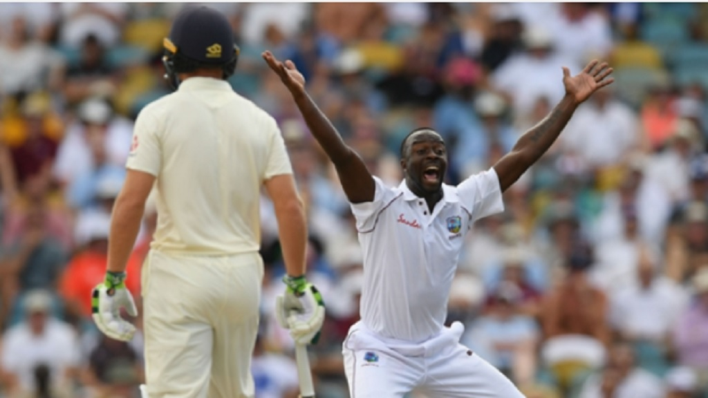 Kemar Roach appeals successfully for an lbw decision on day two of the first Test in Barbados on Thursday, January 24, 2019.