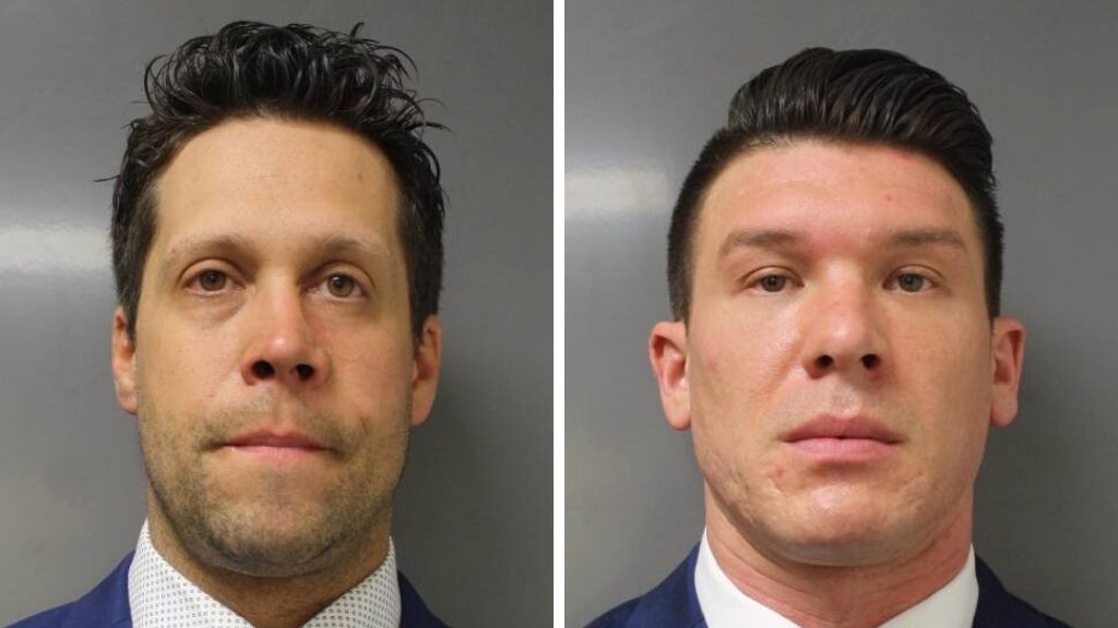 This June 6, 2020 photo provided by the Erie County District Attorney's Office in Buffalo, NY, shows suspended Buffalo police officer Aaron Torgalski (L) and Robert McCabe (R). Photo via Erie County District Attorney's Office via AP.