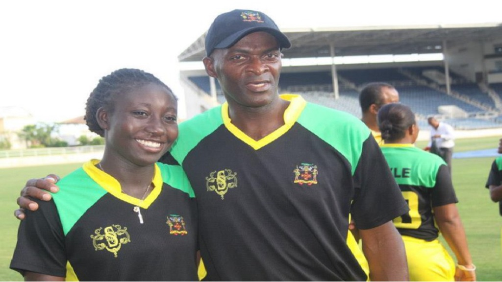 Cleon Smith (right) and Jamaica and West cricketer Stafanie Taylor.