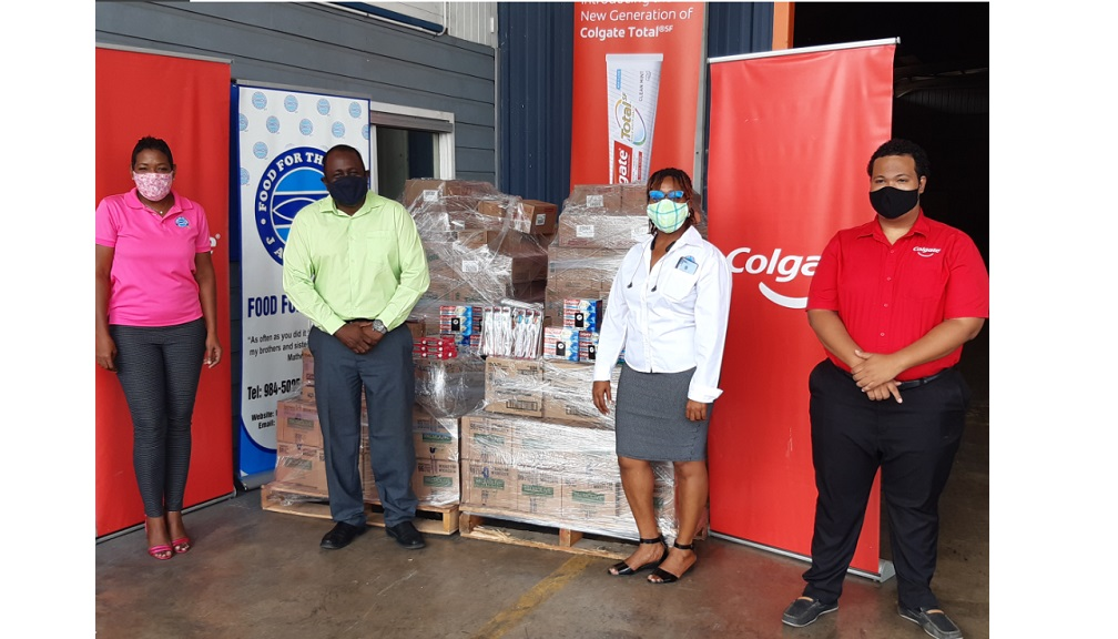 (from left) Food For The Poor Jamaica (FFPJ) Development and Marketing Manager, Marsha Burrell-Rose; Colgate-Palmolive Caribbean Region Customer Development Manager, Kirk Reid; FFP Director, Kivette Silvera and Colgate-Palmolive Junior Brand Manager, Andre Cunningham at the handover ceremony.