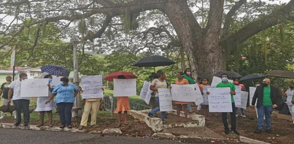 Healthcare workers attached to the St Ann's Psychiatric Hospital protested outside the Prime Minister's Residence and Diplomatic Centre in St Ann's on June 17, 2020. (Photo courtesy PSA Trinbago)
