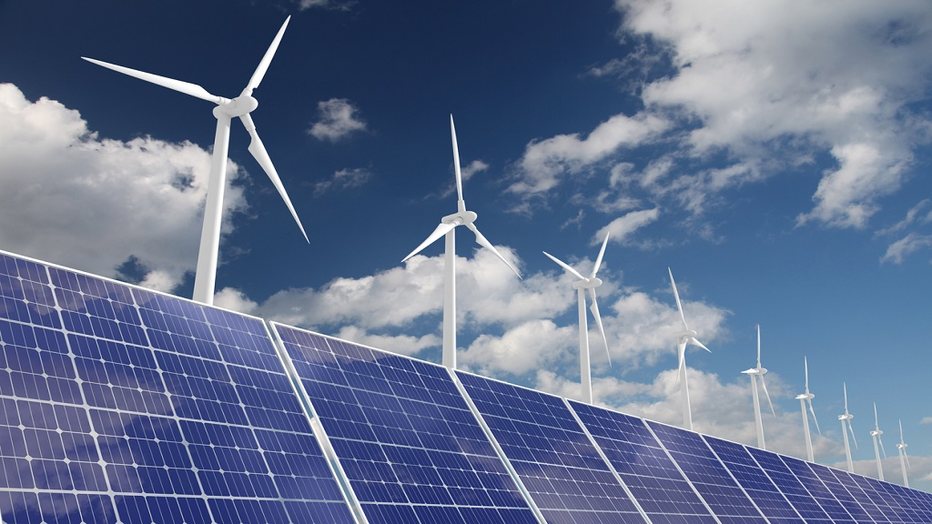 Wind turbine solar panel renewable energy. (Photo: iStock)