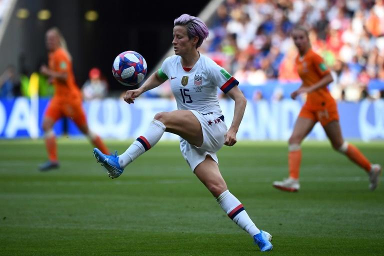 Megan Rapinoe, l'une des figures emblématiques du football féminin, lors de la finale de la coupe du monde 2019 en France, le 7 juillet à Lyon.