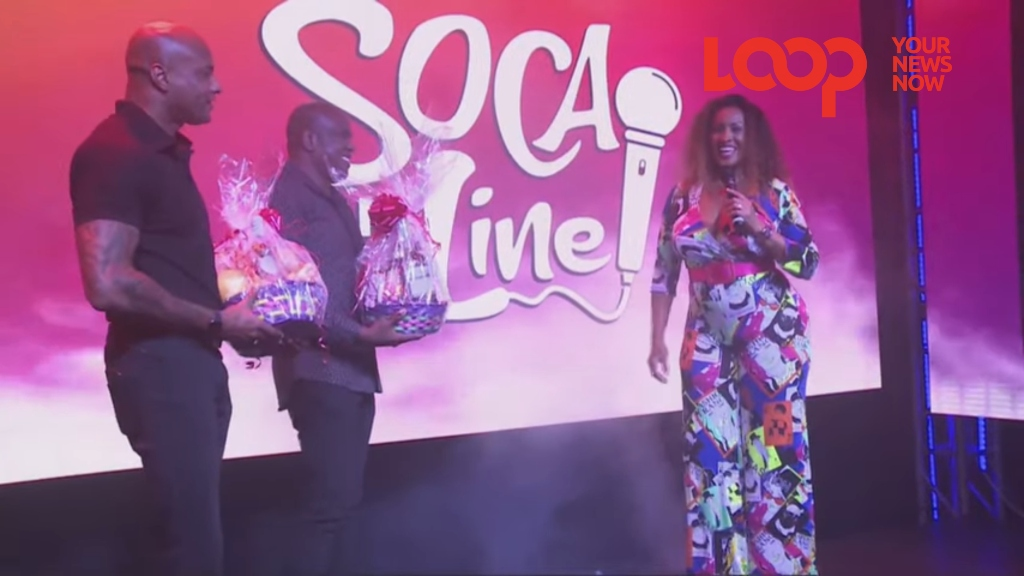 Alison Hinds being presented with tokens of appreciation by Ruel Ward and Rudy Maloney on Mother's Day after her performance at the Soca on the Line online event