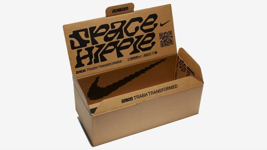 The reduce and re-use credo runs through to the packaging for the Space Hippie 01. (Photo: Nike.com)