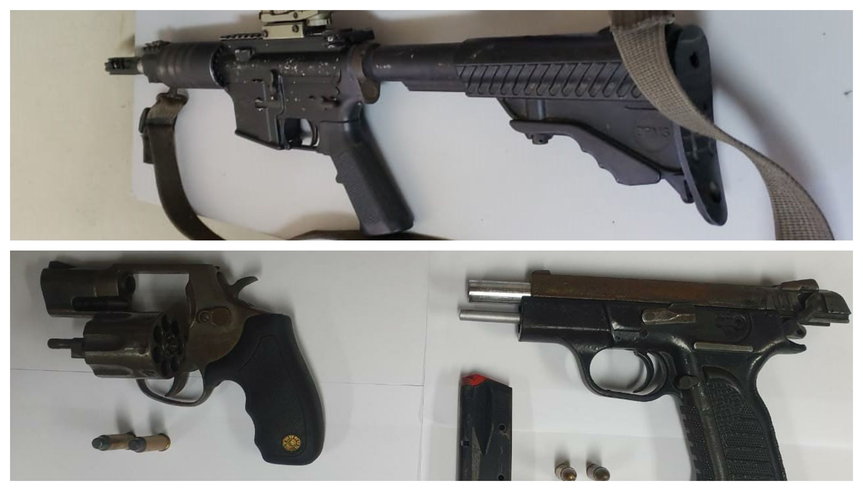Seized: These firearms were found by police following the fatal shooting of a man in Maraval