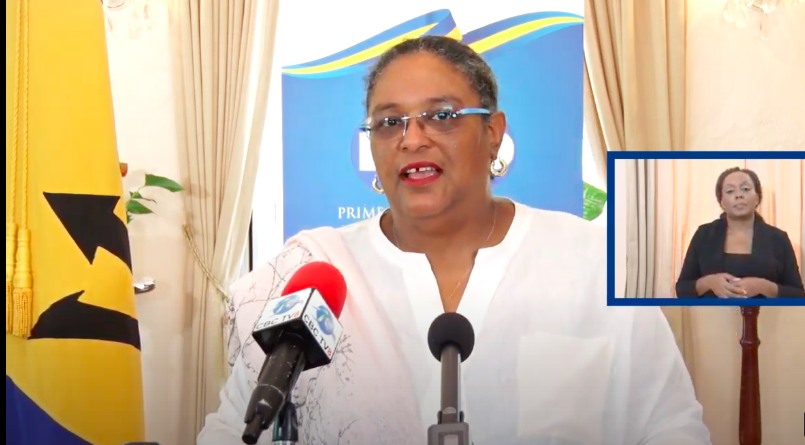 Hon Mia Mottley at today's press conference to announce relaxing COVID-19 regulations