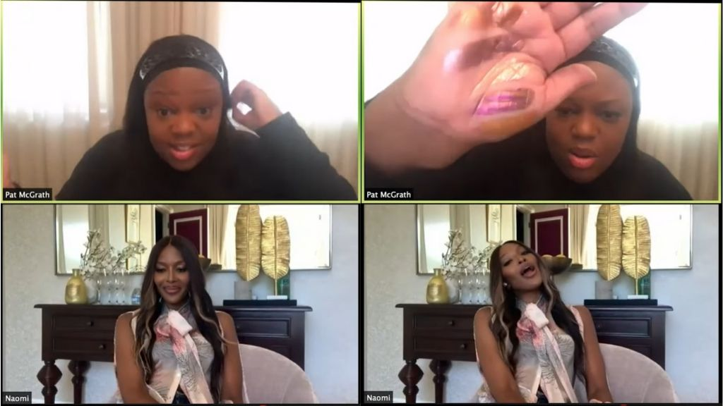 Beauty mogul Pat McGrath presented swatches of her new make-up shades to supermodel Naomi Campbell via YouTube live chat. The two ladies are borne of Jamaican mothers. (Photos: via YouTube)