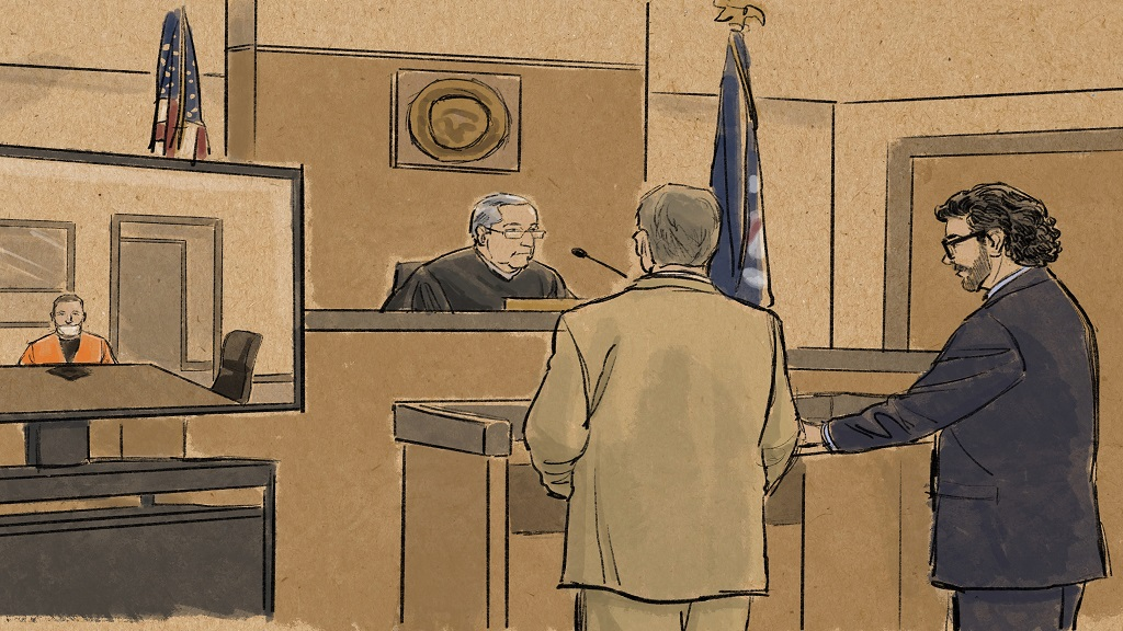 In this courtroom sketch, former Minneapolis police officer Derek Chauvin appears in on closed-circuit television from a maximum security prison in Oak Park Heights, Minn., Monday, June 29, 2020, during a hearing before Hennepin County Judge Peter Cahill in Minneapolis. Prosecutor Matthew Frank, second from right, and defense attorney Eric Nelson, right, face the judge. (Cedric Hohnstadt via AP)