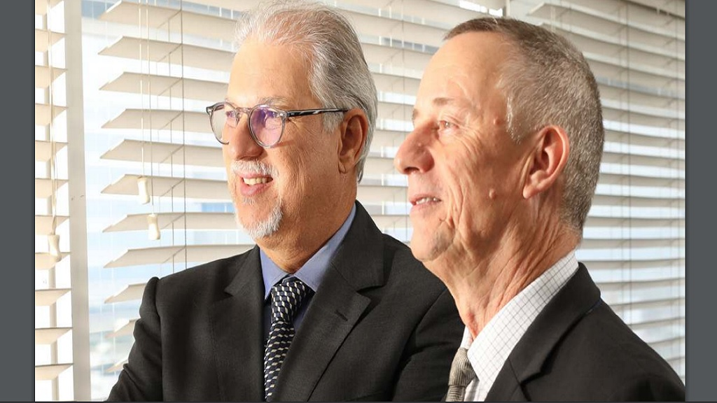 Chairman and CEO of PanJam Investments Limited, Stephen Facey (left) and Deputy CEO Paul Hanworth.