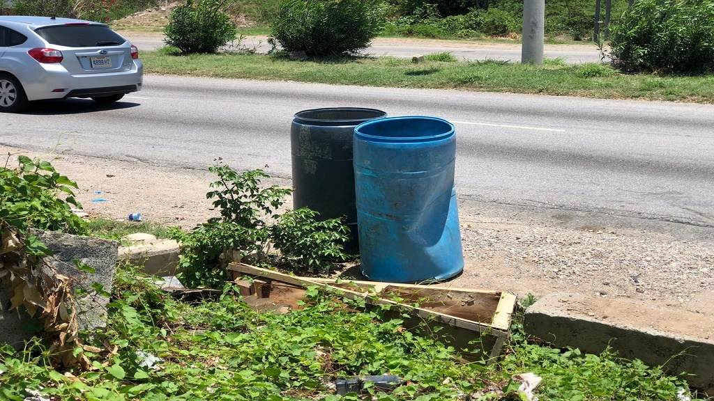 The Harbour View roadside where a fetus was found by a garbage collector on Monday morning.